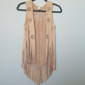 American rag faux suede fringe vest size small